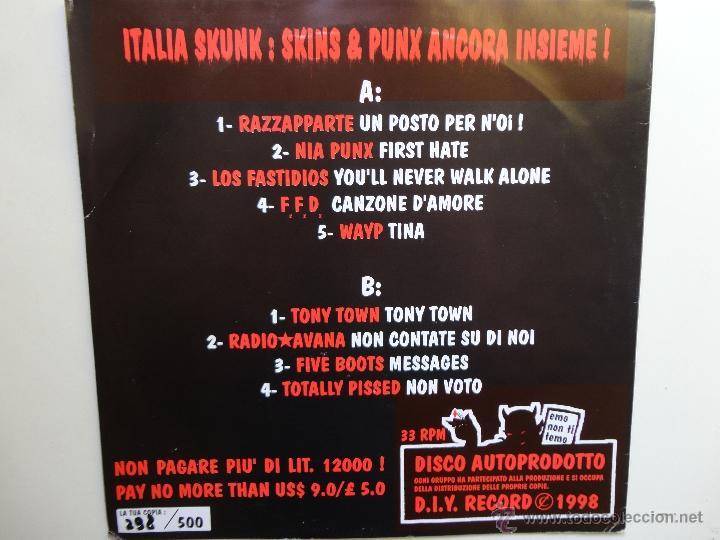 Discos de vinilo: ITALIA SKUNK!- F.F.D.-LOS FASTIDIOS-FIVE BOOTS-VARIOUS GROUP-LP PUNK/OI! 1998-LIM. EDIT. 500 COPIES. - Foto 2 - 41703792
