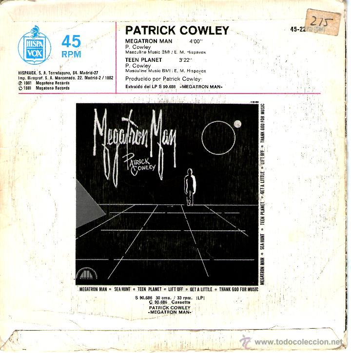 Discos de vinilo: PATRICK COWLEY MEGATRON MAN - Foto 2 - 41741063