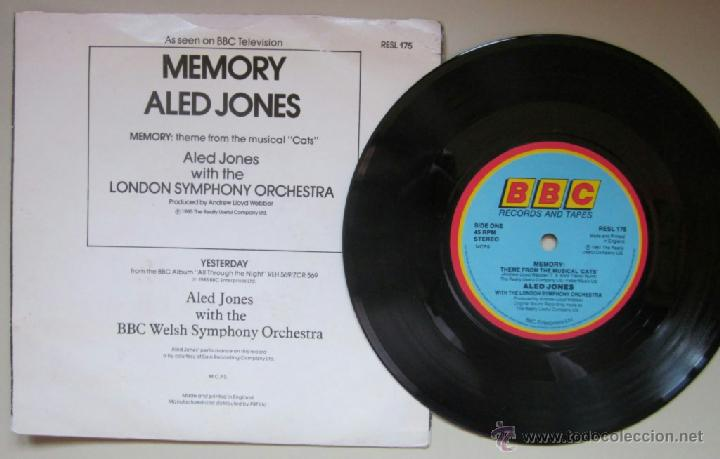 Discos de vinilo: ALED JONES - MEMORY - CATS (LLOYD WEBBER) / YESTERDAY (Beatles) - BBC - Foto 2 - 41765440
