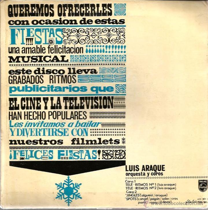 Discos de vinilo: EP LUIS ARAQUE : TELE-RITMOS 1 Y 2 + JINGLES + SPOTS - Foto 3 - 41807633