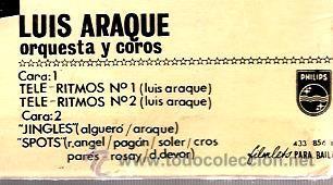 Discos de vinilo: EP LUIS ARAQUE : TELE-RITMOS 1 Y 2 + JINGLES + SPOTS - Foto 4 - 41807633