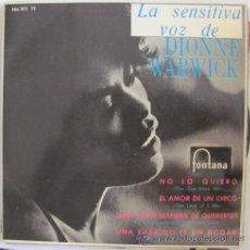 Discos de vinilo: DIONNE WARWICK - NO LO QUIERO + 3 TEMAS - E.P. 1965. Lote 42051086