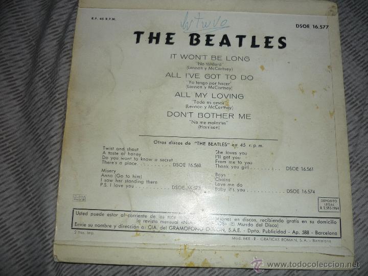 Discos de vinilo: EL DSOE 16577 THE BEATLES IT WONT BE LONG - ALL MY LOVING DONT BOTHER ME ODEON - Foto 4 - 39175038