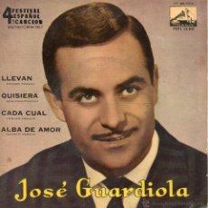 Discos de vinilo: JOSE GUARDIOLA - FESTIVAL BENIDORM 62, EP, LLEVAN + 3 , AÑO 1962. Lote 42184988
