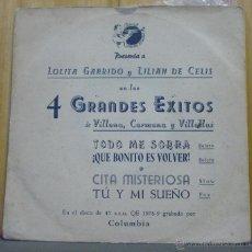 Discos de vinilo: LOLITA GARRIDO Y LILIAN DE CELIS EN LOS 4 GRANDES ÉXITOS DE VILLENA, CARMONA Y VILLELAS - EP. Lote 156856044