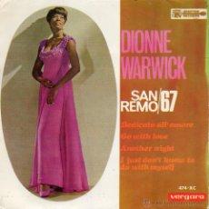 Discos de vinilo: DIONNE WARWICK - FESTIVAL SAN REMO 67, EP, DEDICATO ALL´AMORE + 3 , AÑO 1967. Lote 42261674