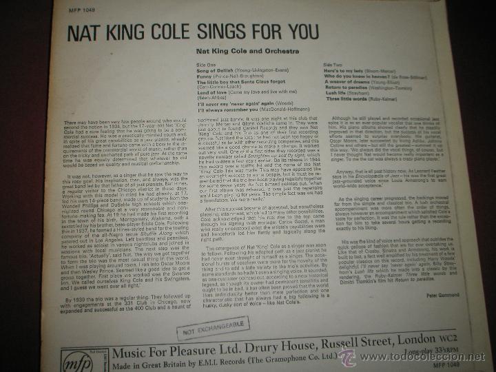 Discos de vinilo: =LP-VINILO-GRAN BRETAÑA-NAT KING COLE-SINGS-MFP/EMI-12 TEMAS-1960s-BUEN ESTADO. - Foto 2 - 42264304