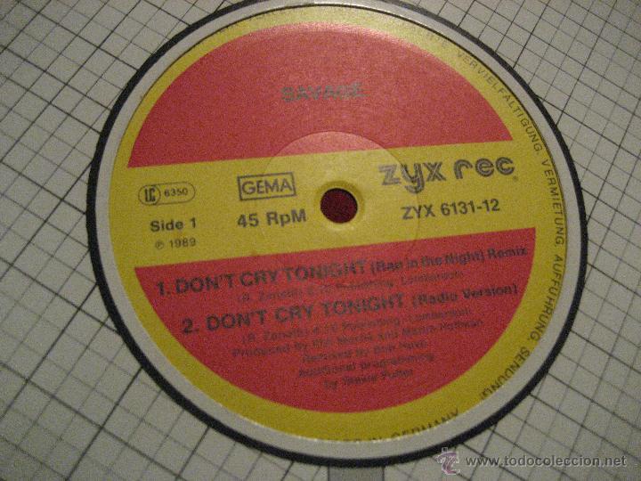 Discos de vinilo: SAVAGE, DON´T CRY TONIGHT REMIXES, FIRMADO por SAVAGE. CONFIRMADO. ITALO DANCE, DISCO - Foto 5 - 42288102