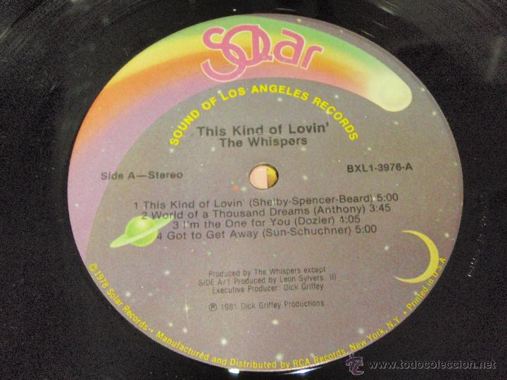 Discos de vinilo: THE WHISPERS ( THIS KIND OF LOVIN' ) NEW YORK-USA 1981 LP33 SOUND OF LOS ANGELES RECORDS - Foto 5 - 42300386