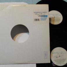 Discos de vinilo: MARIAH CAREY THROUGH THE RAIN 2 VINYLS DOBLE RAREZA COVER BLANCA REMIXES. Lote 42358019