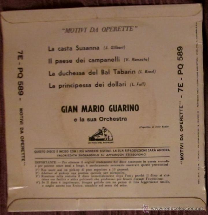 Discos de vinilo: MOTIVI DA OPERETTE - LA CASTA SUSANNA - LA VOCE DEL PADRONE - ITALIA - Foto 2 - 42374878