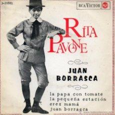 Discos de vinilo: RITA PAVONE, EP, LA PAPA CON TOMATE + 3 , AÑO 1965. Lote 42381998