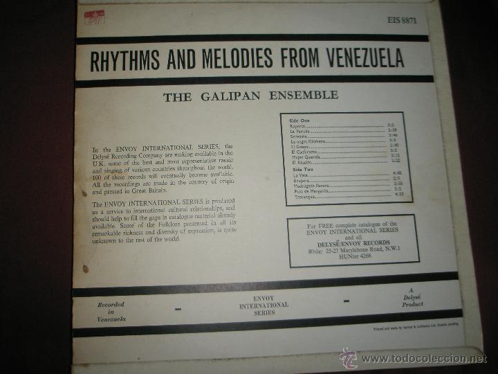 Discos de vinilo: LP-VINILO-GRAN BRETAÑA-RHYTHMS AND MELODIES FROM VENEZUELA-1966-GALIPAN ENSEMBLE-BUEN ESTADO. - Foto 2 - 42393659