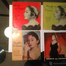 Discos de vinilo: LOTE 4 EP MARIFE DE TRIANA - FLAMENCO COLUMBIA. Lote 42421928