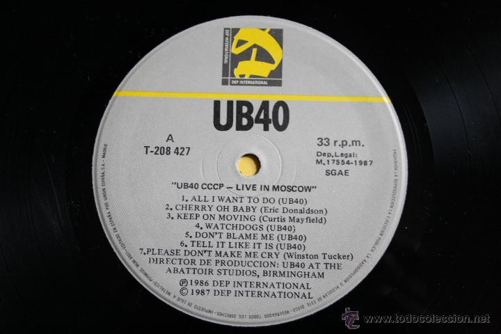 Discos de vinilo: UB40, LIVE IN MOSCOW, DEP INTERNATIONAL REC,1987,MADE IN SPAIN, LP - Foto 3 - 42443236