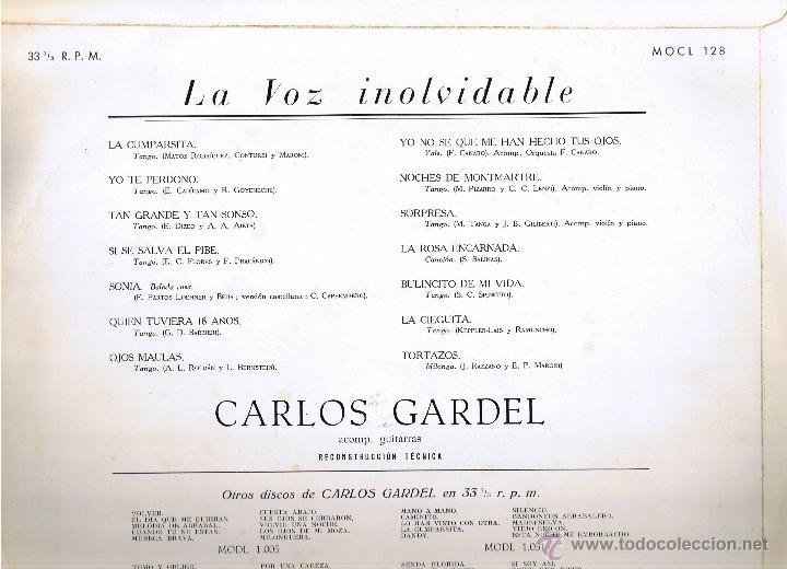Discos de vinilo: CARLOS GARDEL - LA VOZ INOLVIDABLE - FOTO ADICIONAL - Foto 2 - 42446113