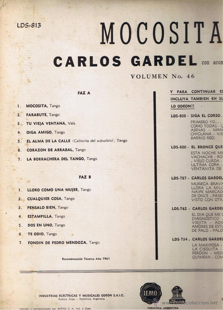 Discos de vinilo: CARLOS GARDEL - MOCOSITA - FOTO ADICIONAL - Foto 2 - 42446182