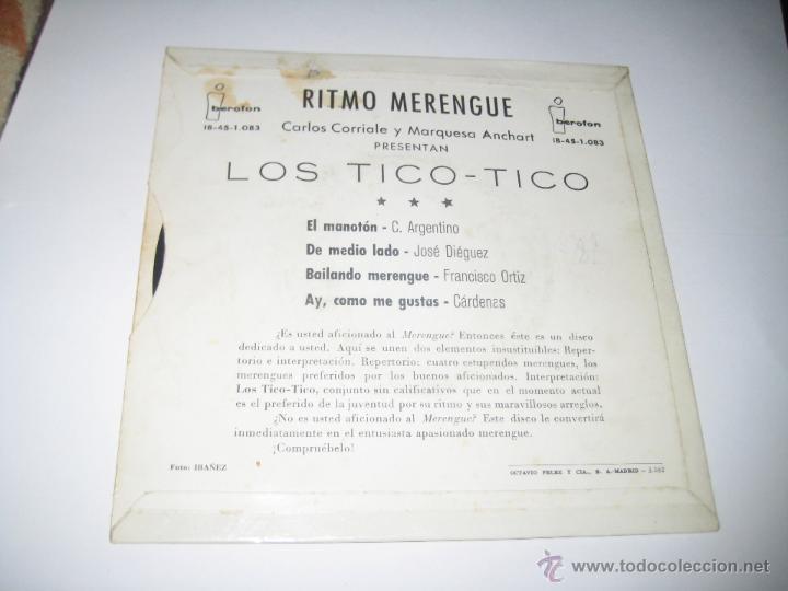 Discos de vinilo: Los Tico Tico - EP Ritmo merengue - Foto 2 - 42460682