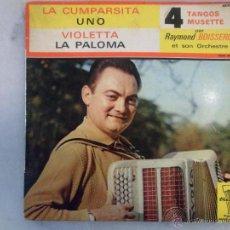 Discos de vinilo: RAYMOND BOISSERIE ET SON ORCHESTRE 4 TANGOS MUSETTE. SELLO TRIANON FRANCIA. Lote 42462152