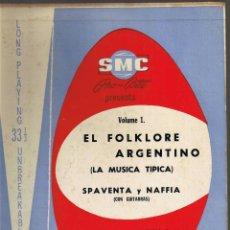 Discos de vinilo: EL FOLKLORE ARGENTINO VOL I - SPAVENTA Y NAFFIA - LA MÚSICA TÍPICA . Lote 42470095