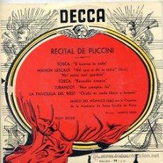Discos de vinilo: RECITAL DE PUCCINI - MARIO DEL MONACO (TENOR) EP ESPAÑOL 1959. Lote 42527479