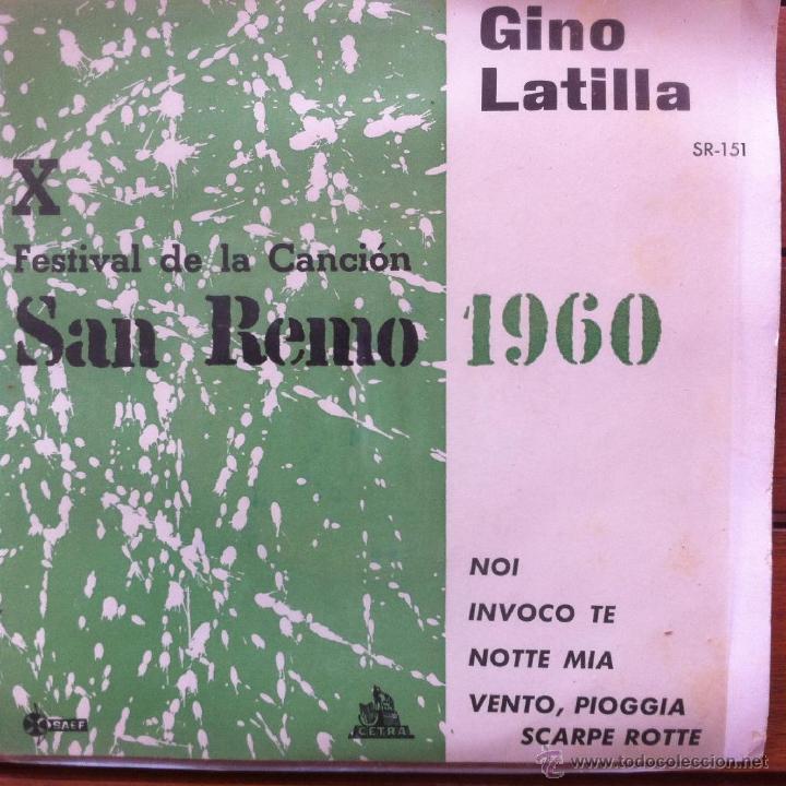 GINO LATILLA - NOI + 3 . EP . 1960 CETRA . FESTIVAL DE SAN REMO (Música - Discos - Singles Vinilo - Otros Festivales de la Canción)