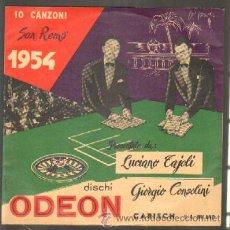 Disques de vinyle: 10 CANZONI SAN REMO 1954. LUCIANO TAJOLI, GIORGIO CONSOLINI. DISCO DE 10 PULGADAS D-DIEZP-335. Lote 42556339