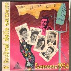 Disques de vinyle: 6º FESTIVAL DELLA CANZIONE SANREMO 1956. ORCHESTRA ARCOBALENO DIRETTA DA GIAN STELLARI. 10 PULGADAS. Lote 42556867
