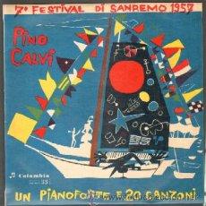 Disques de vinyle: 7º FESTIVAL DI SANREMO 1957. UN PIANOFORTE E 20 CANZONI. DISCO DE 10 PULGADAS. Lote 43690100
