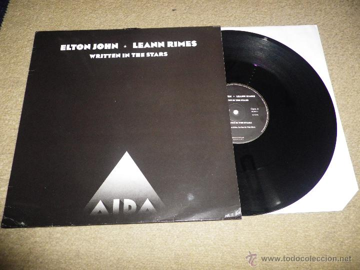 ELTON JOHN & LEANN RIMES WRITTEN IN THE STARS MAXI SINGLE VINILO PROMOCIONAL AÑO 1999 2 VERSIONES (Música - Discos de Vinilo - Maxi Singles - Pop - Rock Internacional de los 90 a la actualidad)