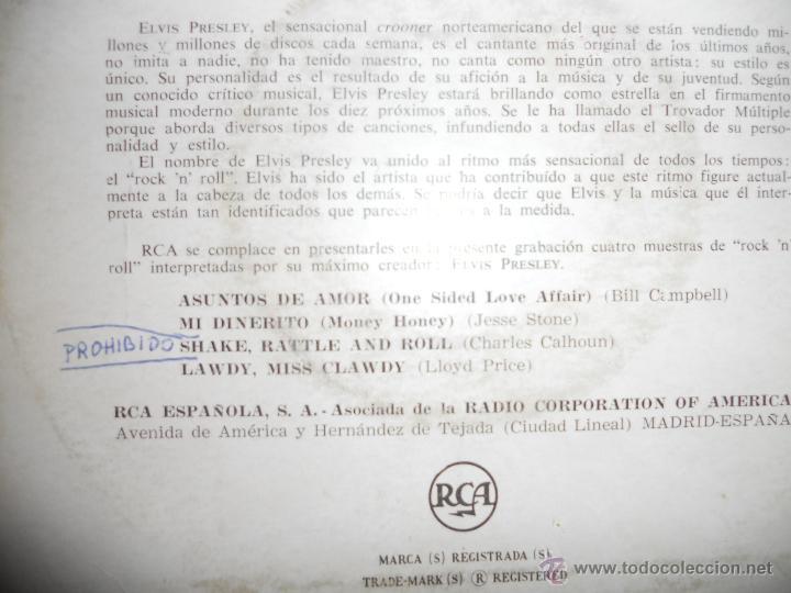 Discos de vinilo: ELVIS PRESLEY (EP) SHAKE, RATTLE AND ROLL AÑO 1958 - LEER - EDICION ESPAÑOLA - Foto 2 - 42585158