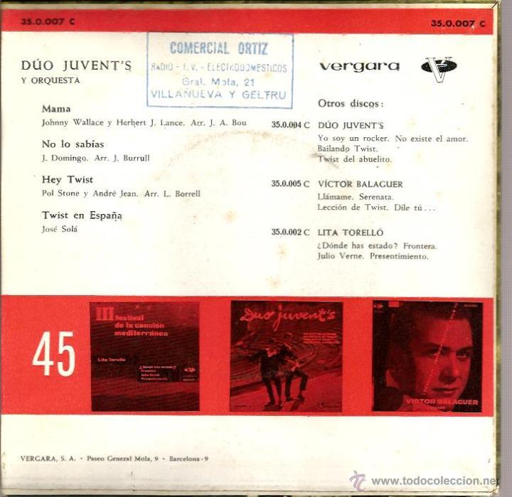 Discos de vinilo: EP DUO JUVENT´S : MAMA - Foto 2 - 42589658