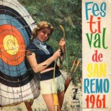 Discos de vinilo: FESTIVAL SAN REMO 61 - TONY DALLARA, EP, AL DI LA´ + 3, AÑO 1961. Lote 42593893