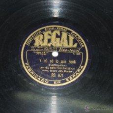 Discos de vinilo: DISCO DE PIZARRA DE EL NIÑO VILLANUEVA, ACOMP. GUITARRA NIÑO RICARDO, FANDANGUILLOS, POR QUE POCO TE. Lote 42607474