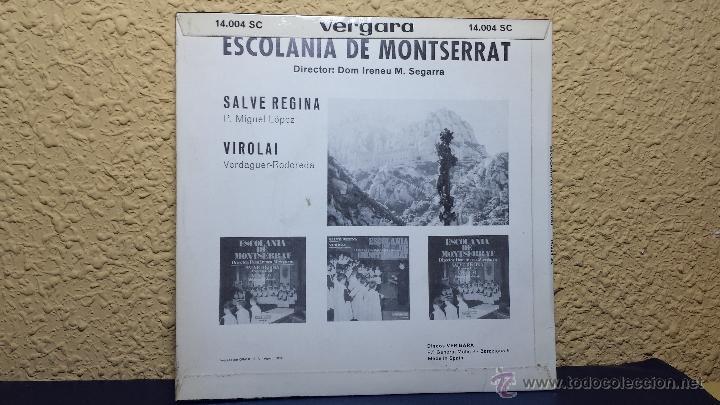 Discos de vinilo: SINGLE. ESCOLANIA DE MONTSERRAT. SALVE REGINA - Foto 2 - 42629241