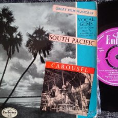 Discos de vinilo: VOCAL GEMS FROM SOUTH PACIFIC. CAROUSEL. EP EMBASSY RECORDS WEP 1025. ENGLAND. GREAT FILM MUSICALS.. Lote 42634529