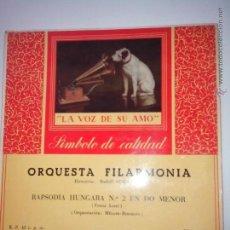 Discos de vinilo: ORQUESTA FILARMONIA.(DIR. RUDOLF SCHWARZ) RAPSODIA HUNGARA (FRANZ LISTZ) LA VOZ DE SU AMO 7ERL 1100. Lote 42638512