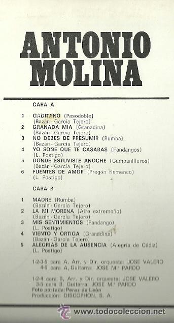 Discos de vinilo: LP - ANTONIO MOLINA - SELLO DISCOPHON EDITADO EN ESPAÑA AÑO 1976 - Foto 2 - 42643491