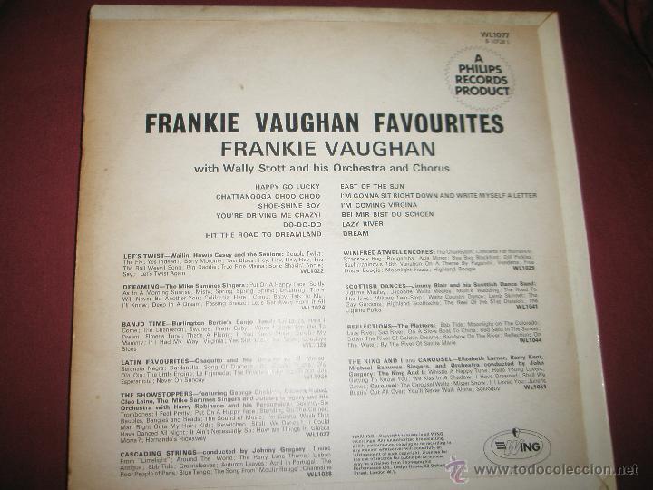 Discos de vinilo: LP-VINILO-GRAN BRETAÑA-FRANKIE VAUGHAN FAVOURITES-1957-WING-WL1077-12 TEMAS-. - Foto 3 - 42670879