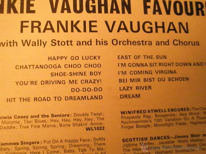 Discos de vinilo: LP-VINILO-GRAN BRETAÑA-FRANKIE VAUGHAN FAVOURITES-1957-WING-WL1077-12 TEMAS-. - Foto 4 - 42670879