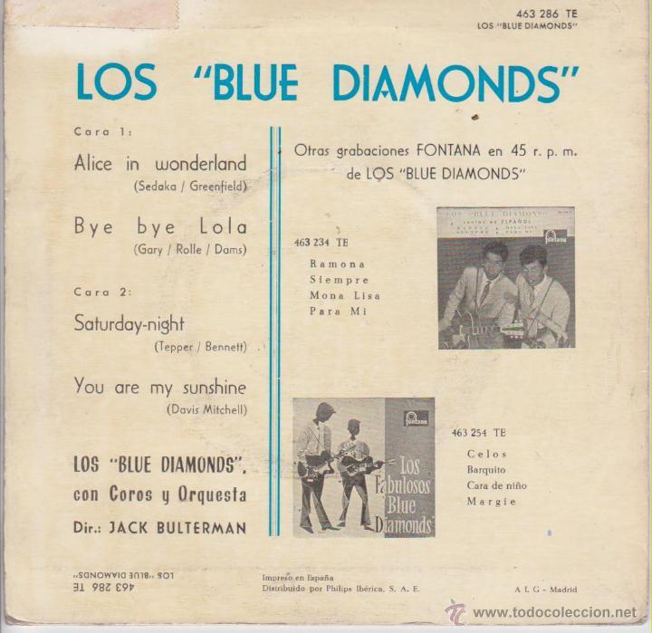 Discos de vinilo: LOS BLUE DIAMONDS - ALICE IN WONDERLAND - SATURDAY NIGHT + 2 - EP SPAIN 1963 - Foto 2 - 42710831