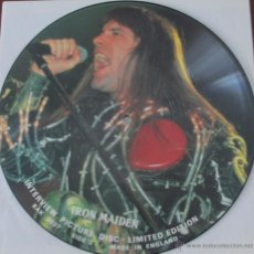 Discos de vinilo: IRON MAIDEN - INTERVIEW PICTURE DISC - LIMITED EDITION UK BAK 2037 - VER DESCRIPCION. Lote 42756850