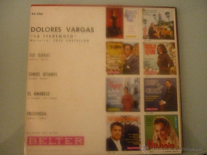 Discos de vinilo: DOLORES VARGAS LA TERREMOTO - Foto 2 - 42781098