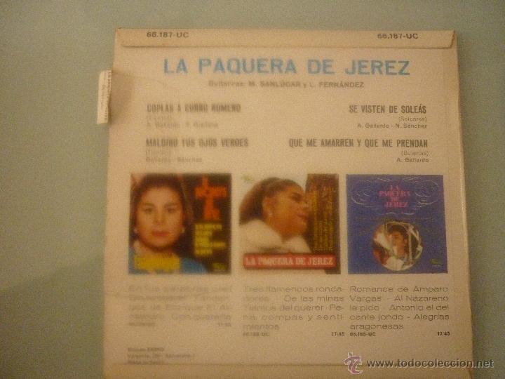 Discos de vinilo: LA PAQUERA DE JEREZ - Foto 2 - 42781413