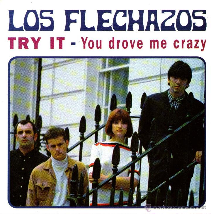 Discos de vinilo: LOS FLECHAZOS - SINGLE VINILO COLOR NEGRO - TRY IT + YOU DROVE ME CRAZY - Editado en INGLATERRA 1994 - Foto 1 - 42796006
