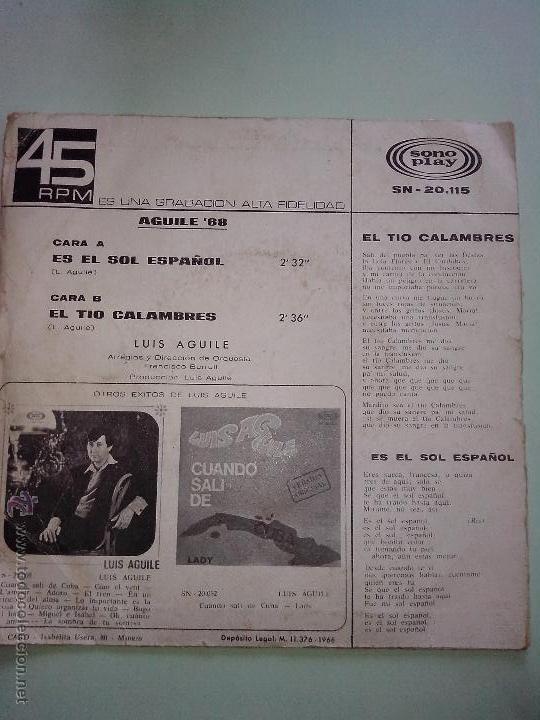 Discos de vinilo: LUIS AGUILE. AGUILE 68. ES EL SOL ESPAÑOL. EL TIO CALAMBRES. SONO PLAY SN 20115 (1968) - Foto 2 - 42816498