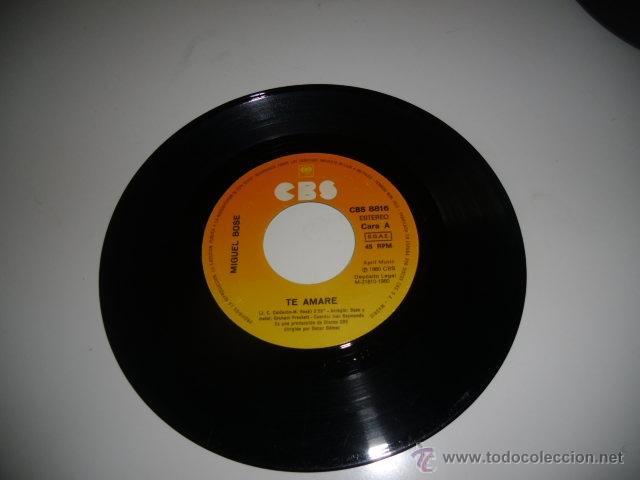 SIN CARATULA MIGUEL BOSE TE AMARE 7 PULGADAS (Música - Discos - Singles Vinilo - Otros estilos)