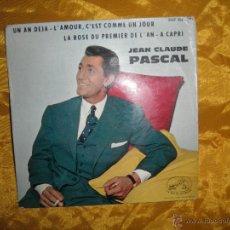 Disques de vinyle: JEAN CLAUDE PASCAL. UN AN DEJA + 3. LA VOIX DE SON MAITRE. EDICION FRANCESA. Lote 42962666
