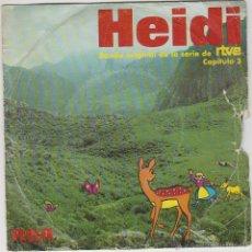 Discos de vinilo: HEIDI, CAPITULO 3. BANDA ORIGINAL DE LA SERIE DE RTVE. SINGLE DEL SELLO RCA DEL AÑO 1975 . Lote 42976412