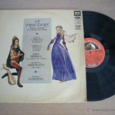 Discos de vinilo: RARE LP LE TROUVERE L'OPERA VERDI FRANCO CORELLI GABRIELLA TUCCI THOMAS SCHIPPERS MOZART BACH. Lote 42998958